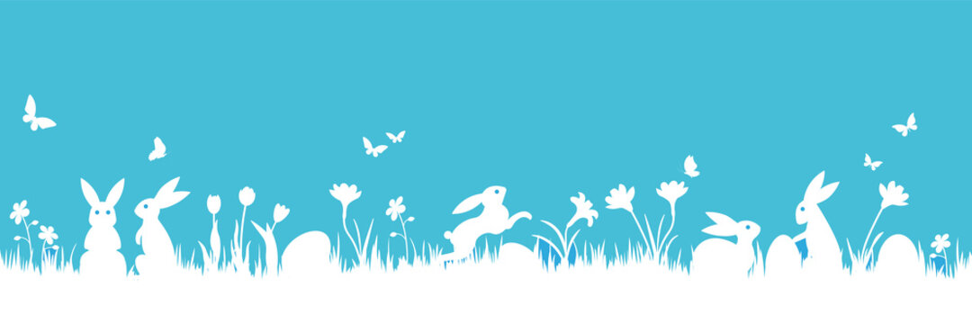 Easter scene, bunnies and eggs on meadow under blue sky banner vector illustration