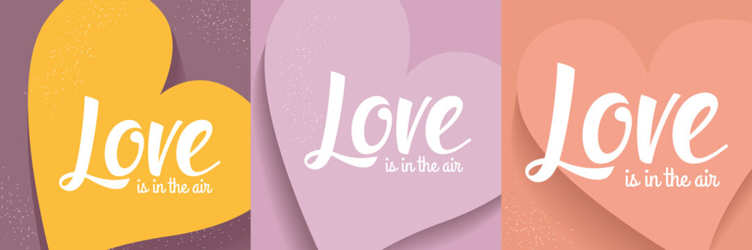 Set of Romantic vector postcard concepts with Love lettering on different backgrounds with heart shape.