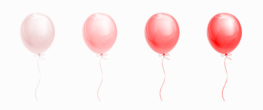 Red glossy helium balloons isolated on white. Set of ballons of different saturation from light pink to deep red. Decorations for holiday, birthday, anniversary, celebration