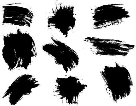 Paquete de manchas de pincel color negro abtractos y minimalistas