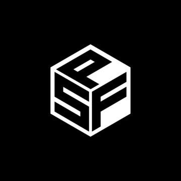 SFP letter logo design with black background in illustrator, cube logo, vector logo, modern alphabet font overlap style. calligraphy designs for logo, Poster, Invitation, etc.