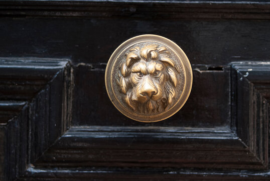 Door handle on the front of residential housing.