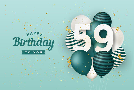 Happy 59th birthday with green balloons greeting card background. 59 years anniversary. 59th celebrating with confetti. Vector stock
