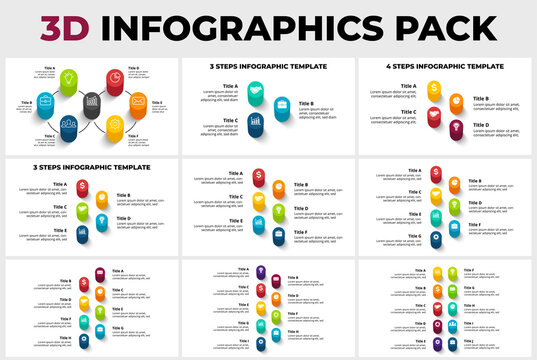 3D Vector Perspective Infographics Pack. Vertical timelines. Presentation slide template. Circle columns with shadows.
