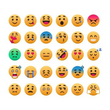set of cute smile emoticon