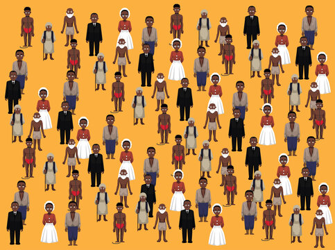Various Black People Standing Cartoon Illustration Seamless Background