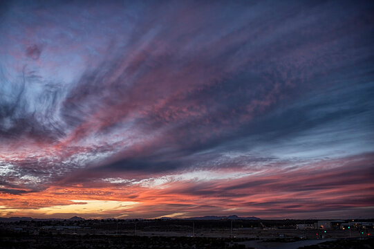 Winter sunset;  near Las Cruces, New Mexico