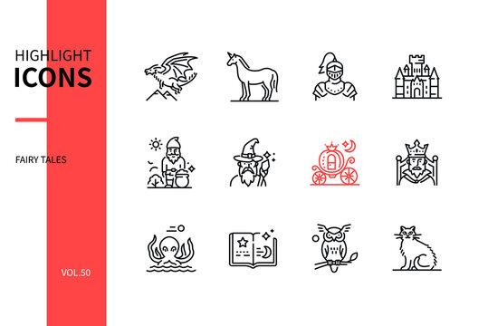 Fairy tales concept - line design style icons set