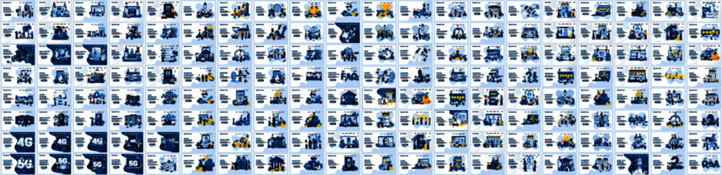 Mega Collection of business concept flat vector illustration. Set of landing page design templates, can use for web banner, infographics, landing page, web template
