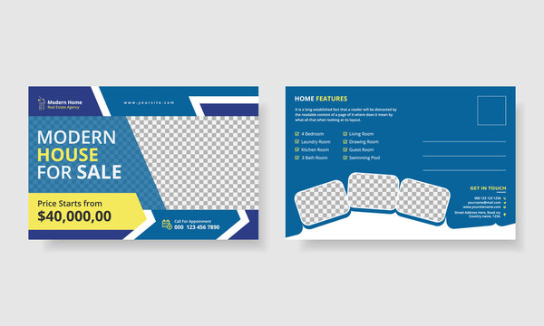 Real estate postcard blue vector template modern layout for opening invitation
