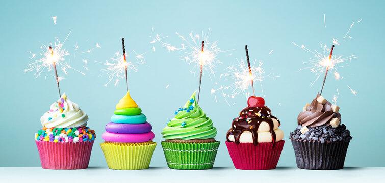Colorful celebration cupcakes