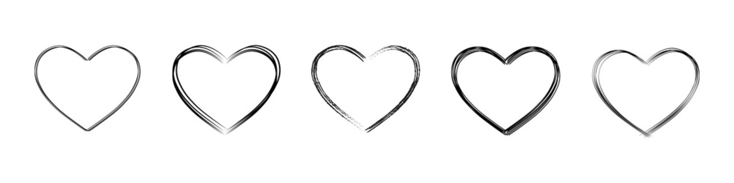 Hand drawn heart. Set of hearts doodle. Vector illustration.