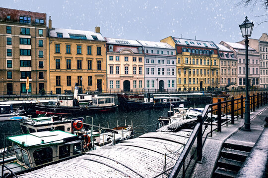 A snowy winter day in the old historic harbor of Berlin, Germany