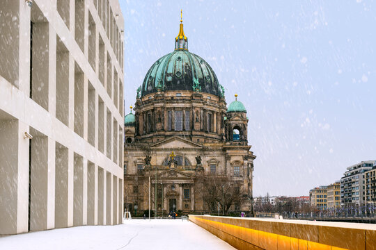 Berlin Cathedral under the snow in Berlin, Germany