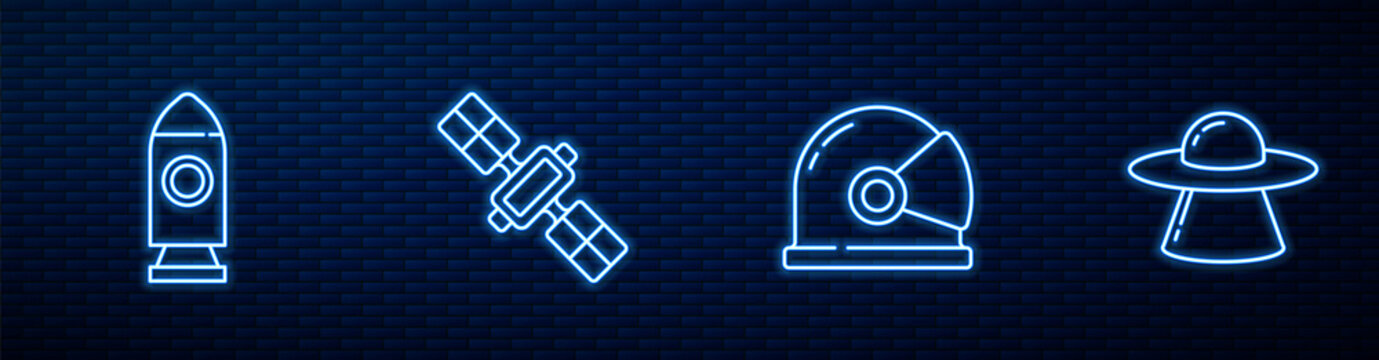 Set line Astronaut helmet, Rocket ship, Satellite and UFO flying spaceship. Glowing neon icon on brick wall. Vector.