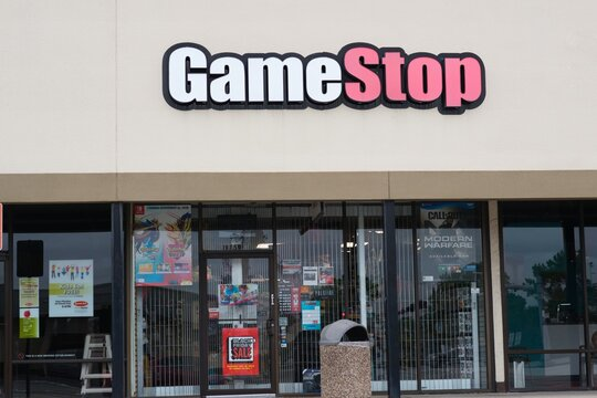 Humble, Texas USA 11-28-2019: Game Stop store outlet in Humble, TX. As gaming merchandise retailer founded in 1984, it has seen steady decline in sales due to online gaming downloads in recent years.