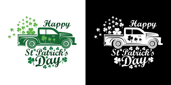 Happy St Patrick's Day | Shamrock | Saint Patricks Day | Clover Leaf | Leaf | Lucky Clover | Car | St Patricks Day Car | St Patricks Day Car | T-shirt Design | Funny Quotes | Typography Design