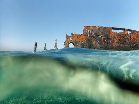 Remains Of A Stranded Ship Near Paradise Beach Hurghada, Red Sea, Egypt