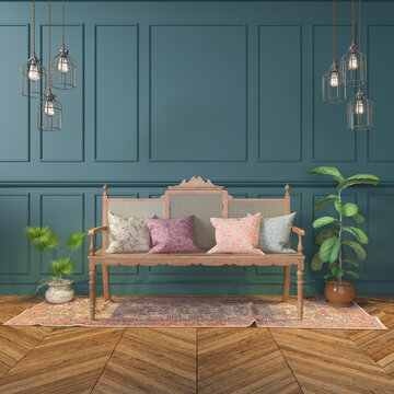 3d render of a Victorian living room - classic style