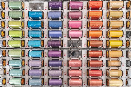 Full Frame Shot Of Multi Colored Spools