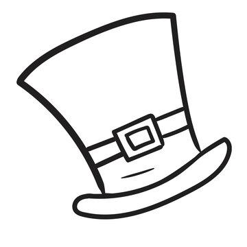 Doodle Saint Patrick's hat icon isolated on white background.