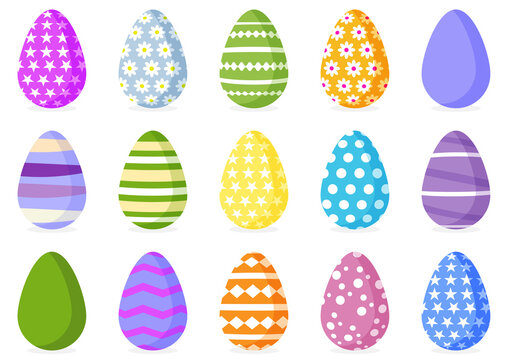 Big set of color Easter eggs. Spring holiday. Happy easter eggs. Vector illustration on white background.