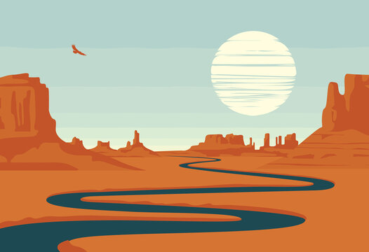 Vector landscape with deserted valley, mountains, dark winding river and flying eagle in the sky. Western scenery. Decorative illustration on the theme of the Wild West nature