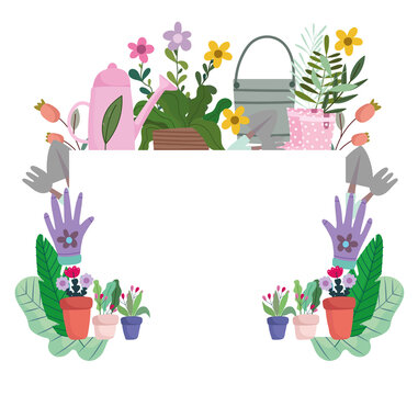 Gardening hobby and diy banner set with tools, vegetables crate and plants