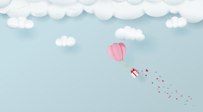 Cartoon style hot air balloon flying with valentines day gift