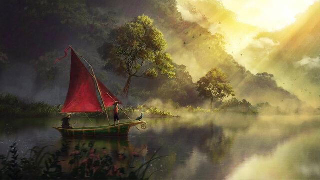 Sea Boat Digital Art | Digital Painting HD wallpaper
