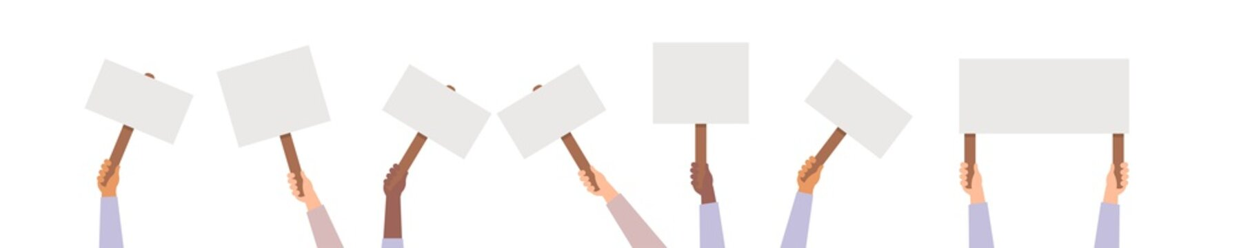 Hand holding protest posters vector, rebel placards in hands people activist crowd illustration.