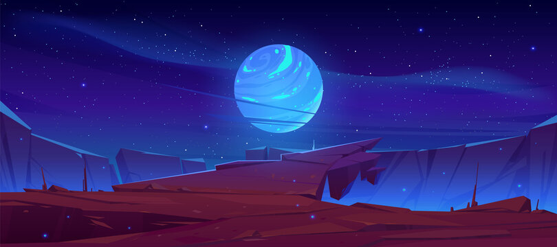 Alien planet surface, futuristic landscape background with glowing moon or satellite above rock cliff in dark starry sky. Fantasy mountains, book or computer game scene, Cartoon vector illustration
