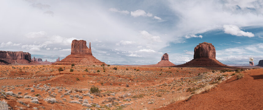 Panoramic View of Monument Valley with american flag