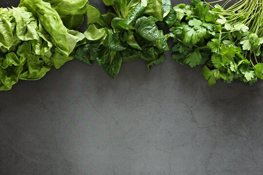 Greenery. Lettuce, Corn  salad and Bunch of parsley.  Overhead view, copy space