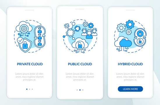 SaaS deployment types onboarding mobile app page screen with concepts. Private, public clouds walkthrough 3 steps graphic instructions. UI vector template with RGB color illustrations