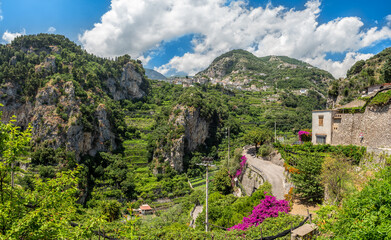 Wall Mural - Landscape with Ravello town at the hills of the famous amalfi coast, Italy