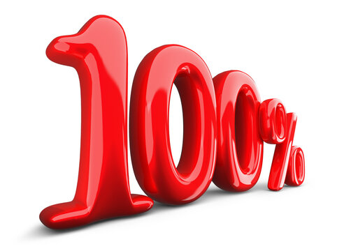 red one hundred percent, 100% symbol on a white background, 3d rendering