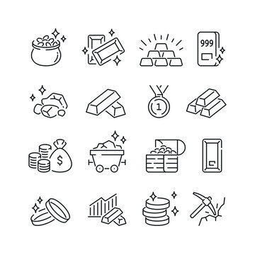 Gold related icons: thin vector icon set, black and white kit
