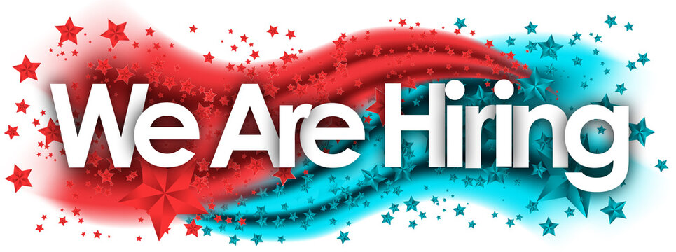 we are hiring in stars colored background
