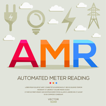AMR mean (Automated meter reading) Energy acronyms ,letters and icons ,Vector illustration.
