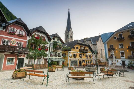 Marketplace Square with tower of Evangelical Parish Church in background, Hallstatt, Austria