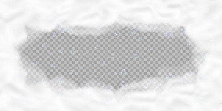 Bath foam frame with bubbles isolated on transparent background. Realistic soap lather texture. Vector illustration of shampoo, gel or mousse suds overlay effect