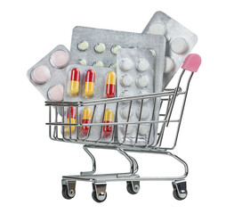 Shopping cart filled with pills on white background.