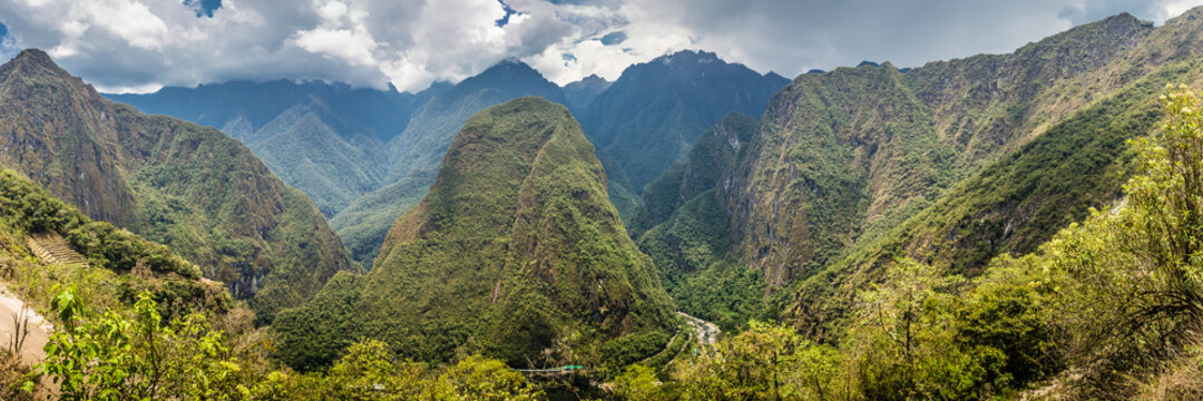Panoramic shot of Urubamba river valley near Machu Picchu seen from trail, Peru