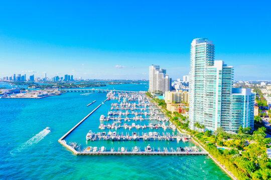 Miami Beach South Pointe condo buildings aerial