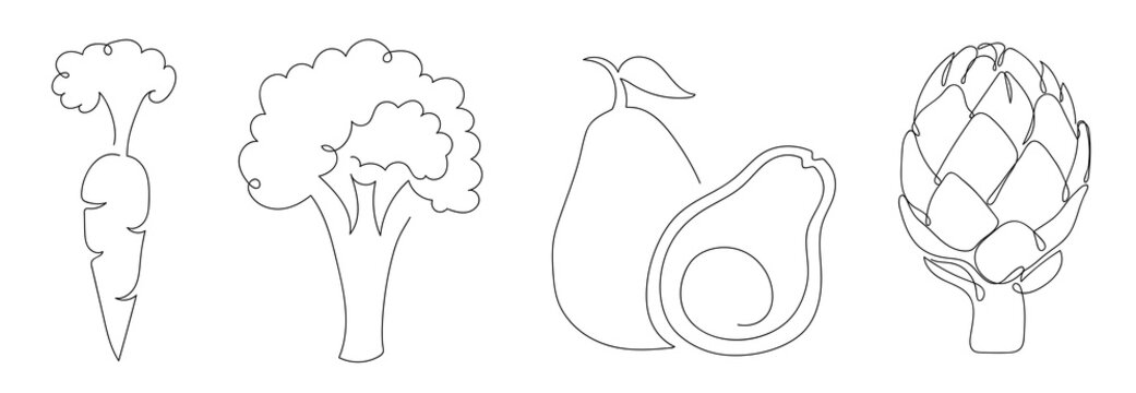 Set of vegetables in a hand drawn linear style.