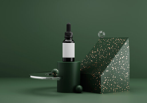Essential oil bottle mockup. contemporary modern abstract composition in dark green tones with golden terrazzo and glass. trendy 3d render background