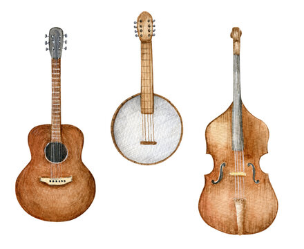 Set of watercolor stringed music instruments. Acoustic guitar, banjo and contrabass. Hand drawn illustration isolated on white background