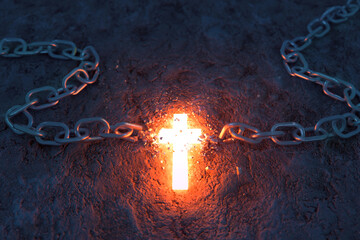 Fototapeta Glowing Cross Breaks a Chain obraz