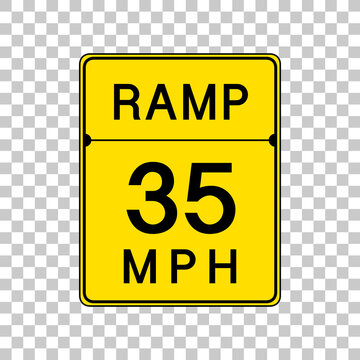 Ramp 35 MPH sign isolated on transparent background